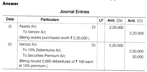 NCERT Solutions for Class 12 Accountancy Part II Chapter 2 Issue and Redemption of Debentures Do it Yourself I Q1
