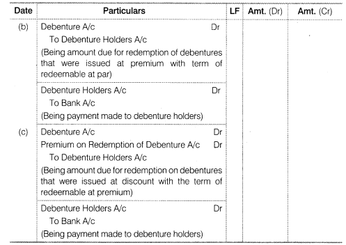 NCERT Solutions for Class 12 Accountancy Part II Chapter 2 Issue and Redemption of Debentures Numerical Questions Q20.1